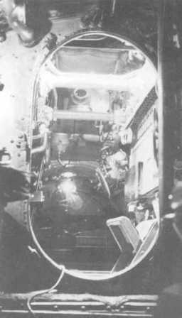 The navigation room seen from the engine room. 